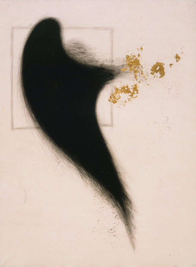 10_Minha LEE_flightless_ink-stick, pigment, gold dust on Korean paper_120x160cm_2002