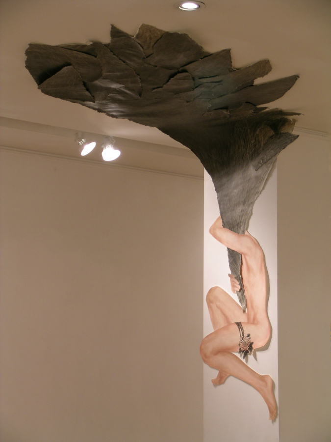 12_Minha LEE+HwaHyun KIM_Free-Loader_ink-stick, mixed media on Korean paper_(figure) life size_2006