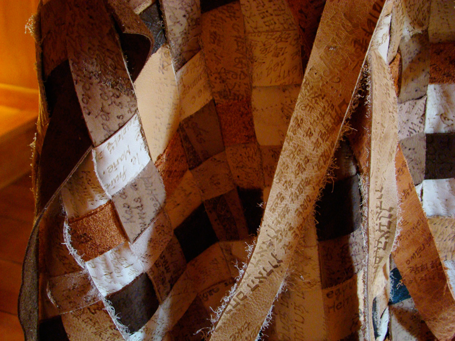 12_Minha LEE_Vested in Prayers_detail view_cow, pig, lamb leather, 69 prayers, 87 languages_2009