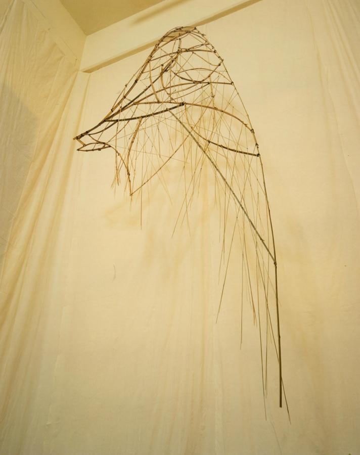 14_Minha LEE_flightless_installation_bamboo, leather strap, cotton cloth_250x300x550cm_2001