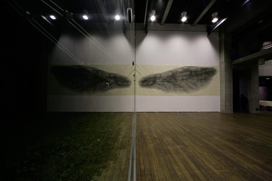 1_Minha LEE_The Mirage_installation view at toride campus_blue ink-stick on Korean paper_840x310cm_2006-7